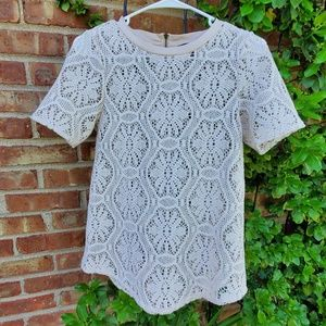 Banana republic cream crochet t shirt top XS